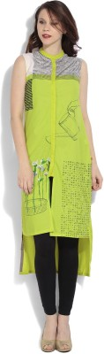 W Printed Women's Straight Kurta(Green) at flipkart