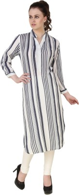 BrandMeUp Striped Women's Straight Kurta