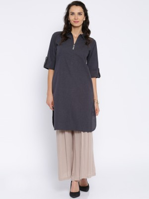 Anouk Solid Women's Straight Kurta(Grey) at flipkart