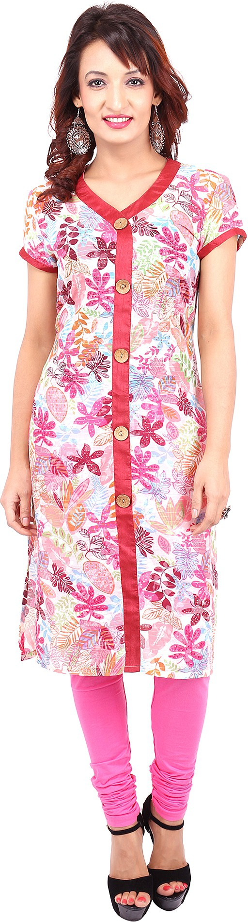 Urban Flairs Floral Print Womens Straight Kurta(Pink)