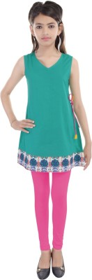 Cotton On Kids Solid Girls A-line Kurta(Dark Green)
