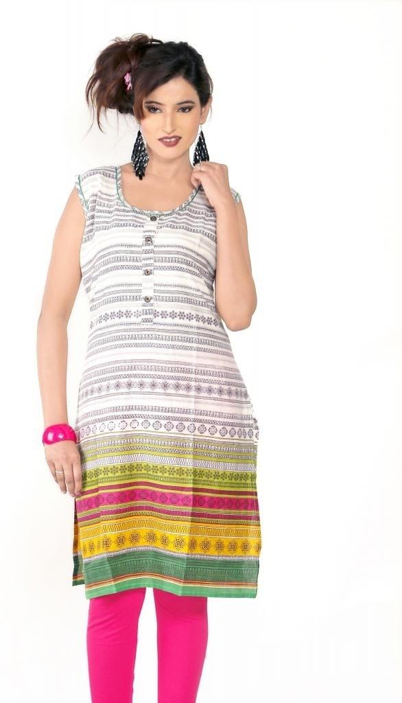 Sruti Geometric Print Womens A-line Kurta(Multicolor)