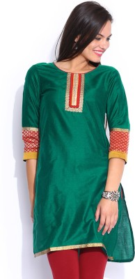 Anouk Solid Women's Straight Kurta(Green) at flipkart