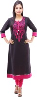 Kyaara Embroidered Women's Anarkali Kurta(Black, Pink)