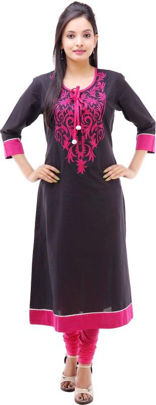 Kyaara Embroidered Women's Anarkali Kurta(Black, Pink)