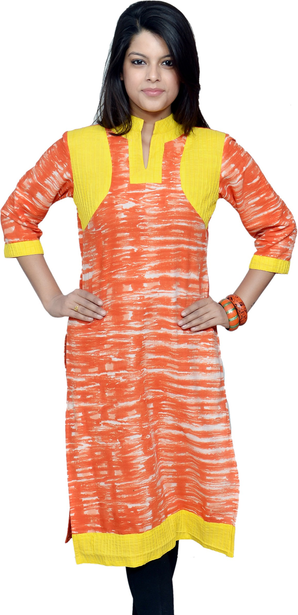 Chitrambara Printed Womens Straight Kurta(Orange)
