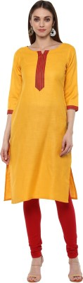 Libas Solid Women's Straight Kurta(Yellow) at flipkart