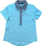 IDK Solid Boys A-line Kurta (Light Blue)
