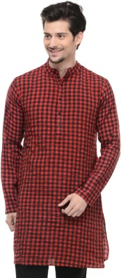 Lavennder Checkered Men,s Straight Kurta