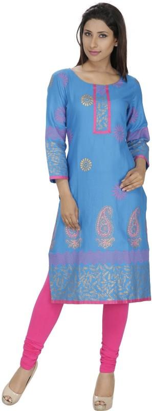 Tanvi Printed Women's Straight Kurta(Blue)