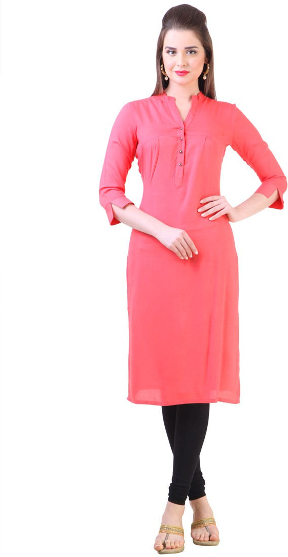 Libas Self Design Womens Straight Kurta(Pink)