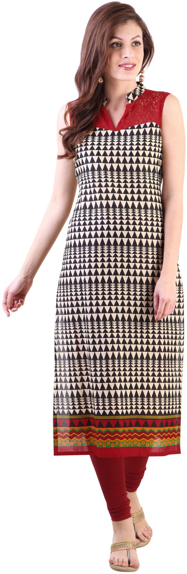 Libas Printed Womens Straight Kurta(Beige)