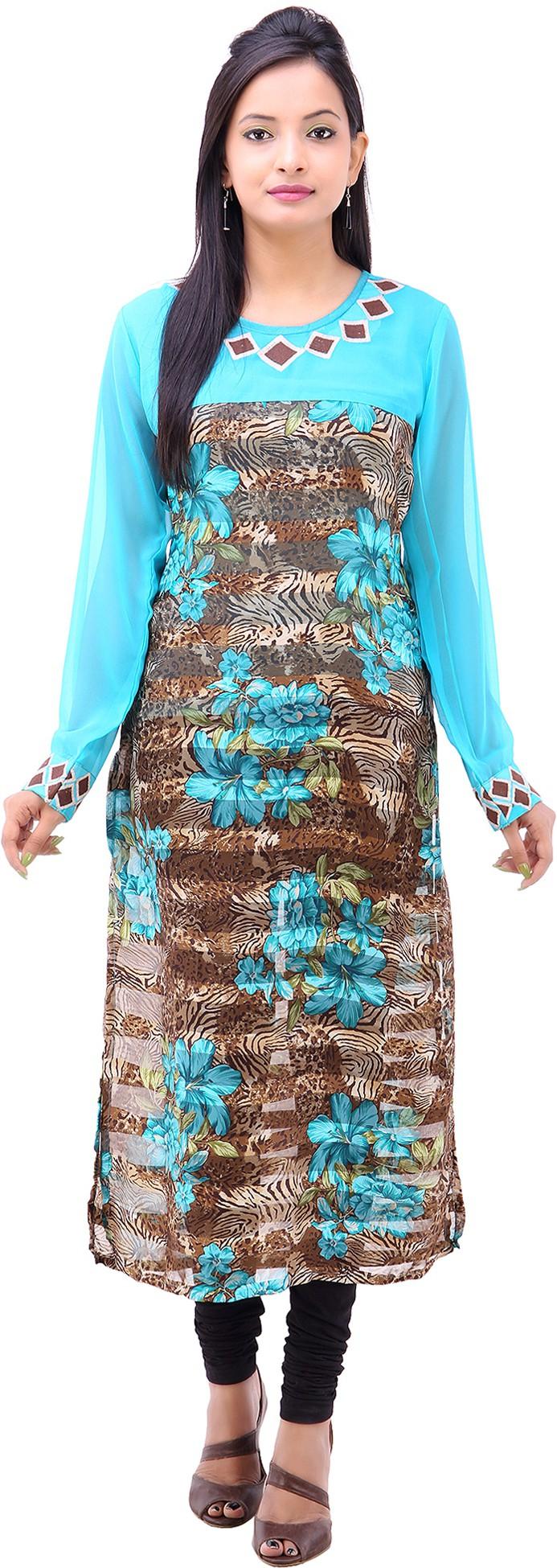 Pari Printed Womens Straight Kurta(Blue)