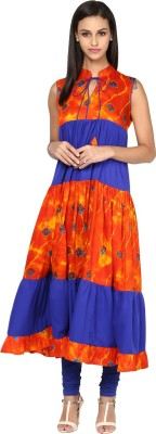 Libas Solid Women's Flared Kurta(Orange, Blue) at flipkart
