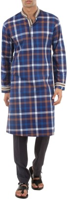 Roar and Growl Checkered Men's Straight Kurta
