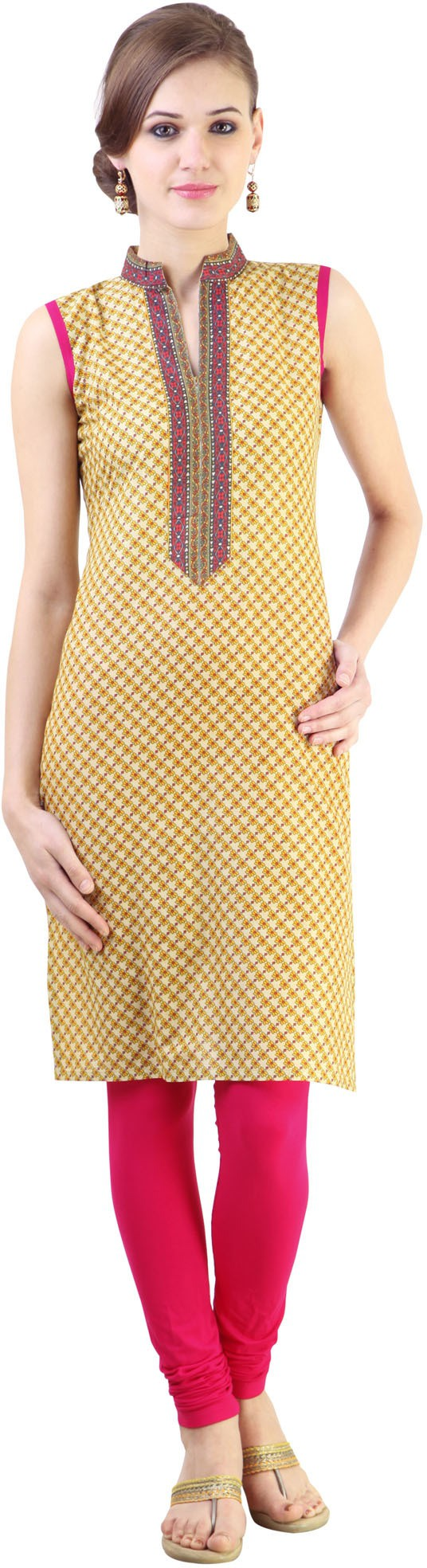 Libas Printed Womens Straight Kurta(Yellow)