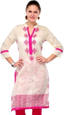 Shakumbhari Printed Women's Straight Kurta(White, Pink) at flipkart
