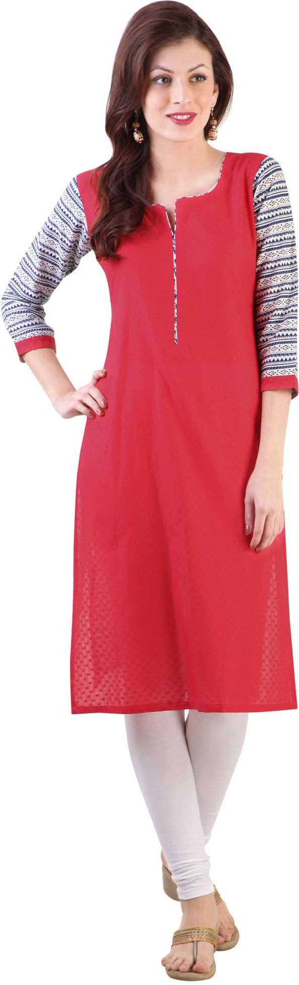 Libas Printed Womens Straight Kurta(Red)