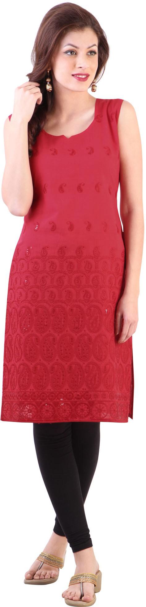 Libas Embroidered Womens Straight Kurta(Red)