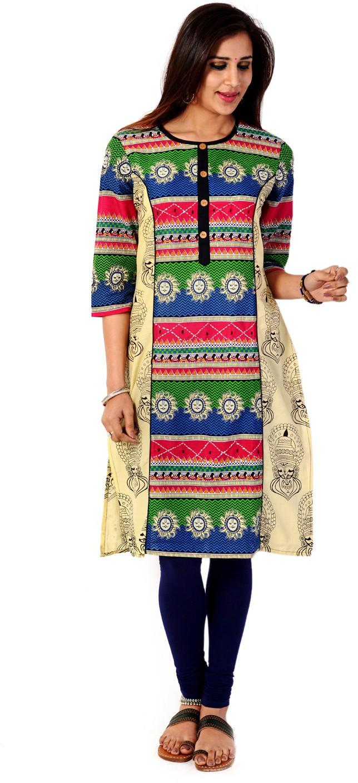 Taaga Printed Womens Straight Kurta(Multicolor)