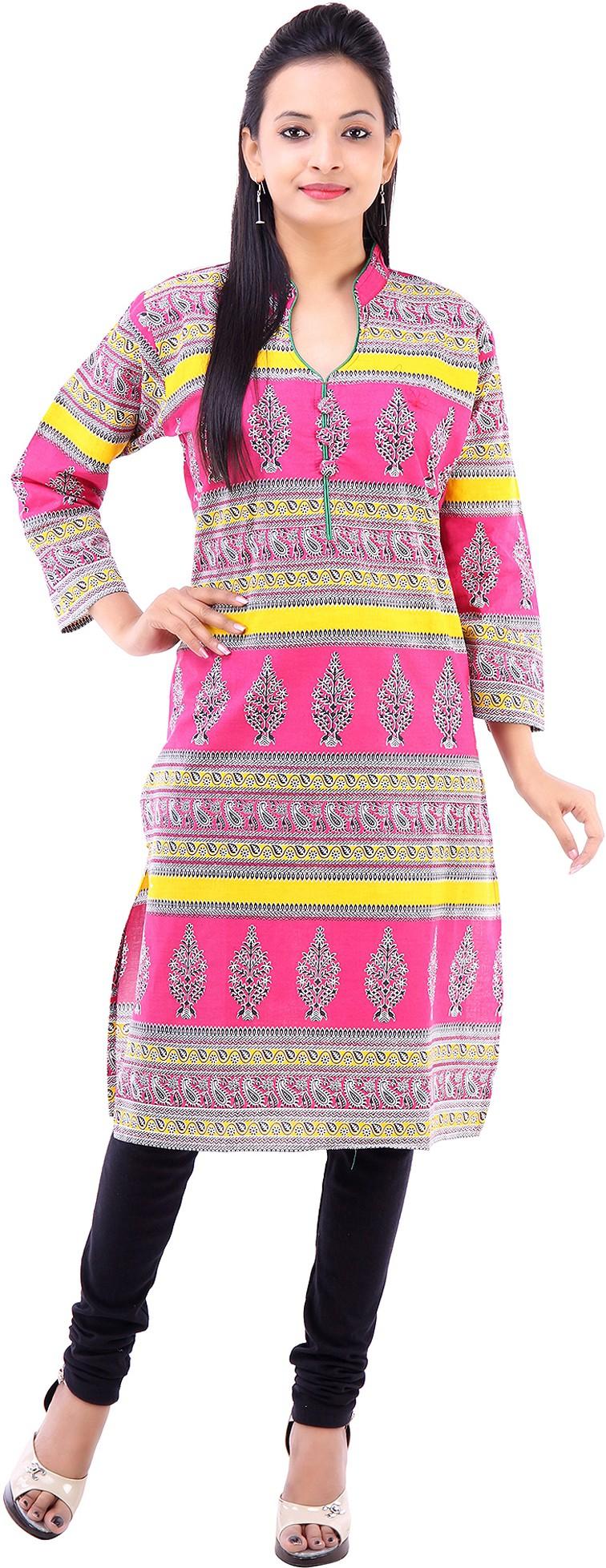 Abhinandan Crafts Printed Womens Straight Kurta(Pink)