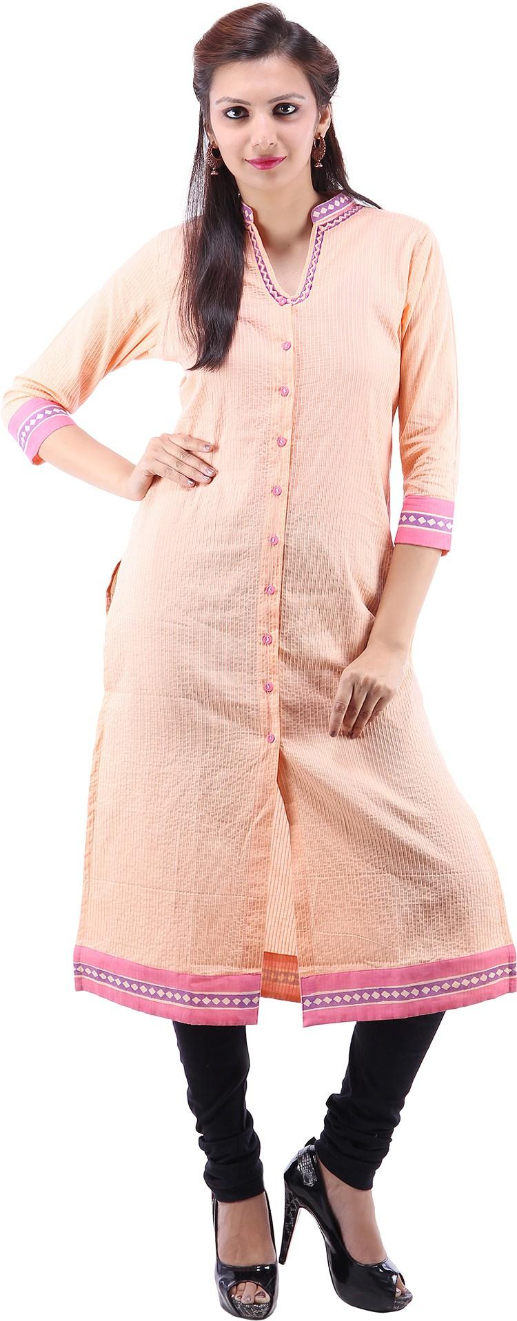 Suruchi Printed Womens Straight Kurta(Pink)