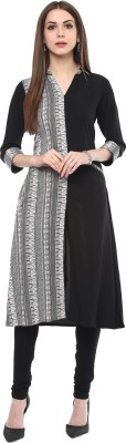 Gerua Solid Women's A-line Kurta(Black) at flipkart