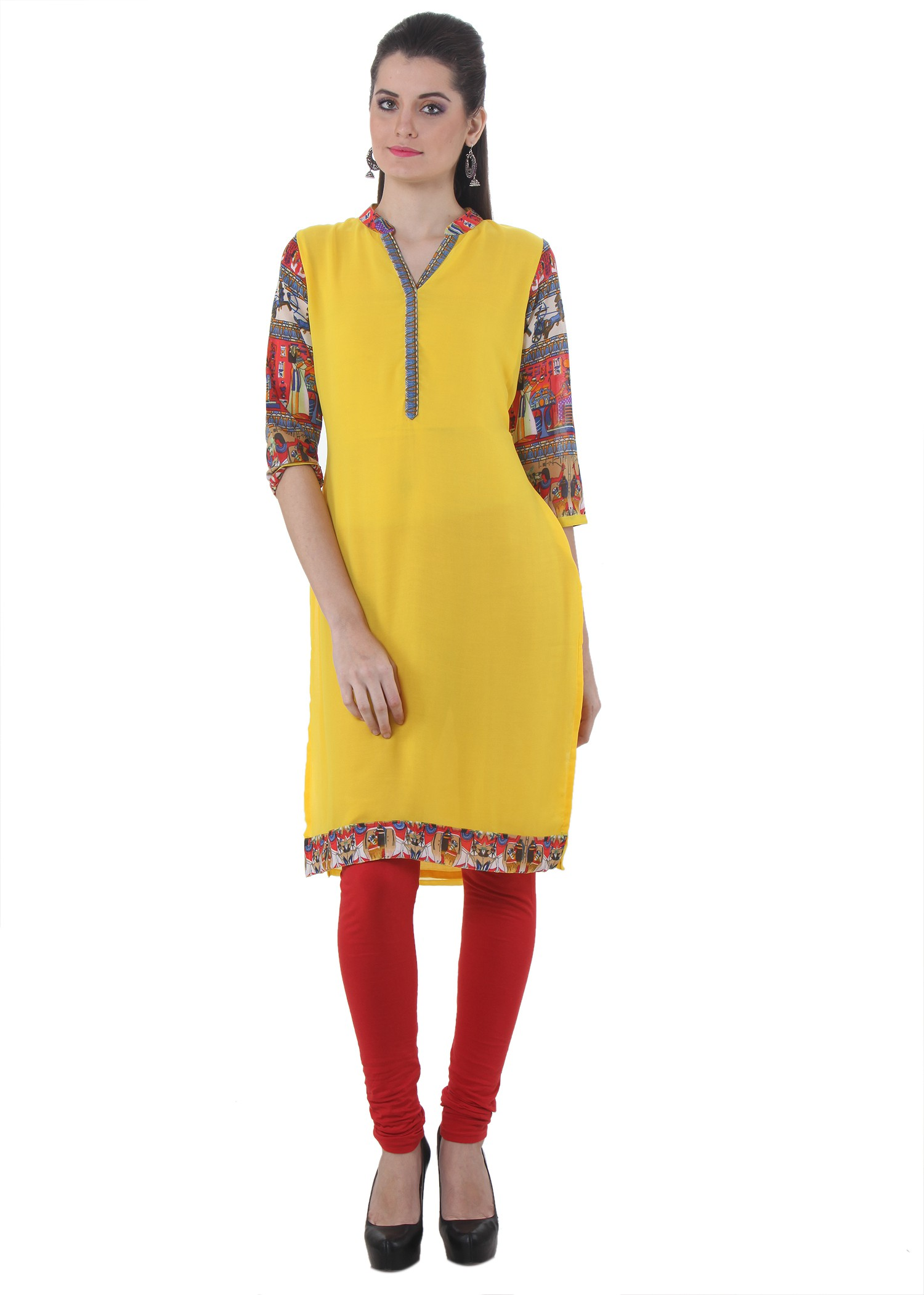 Piaa Solid Womens Straight Kurta(Yellow)