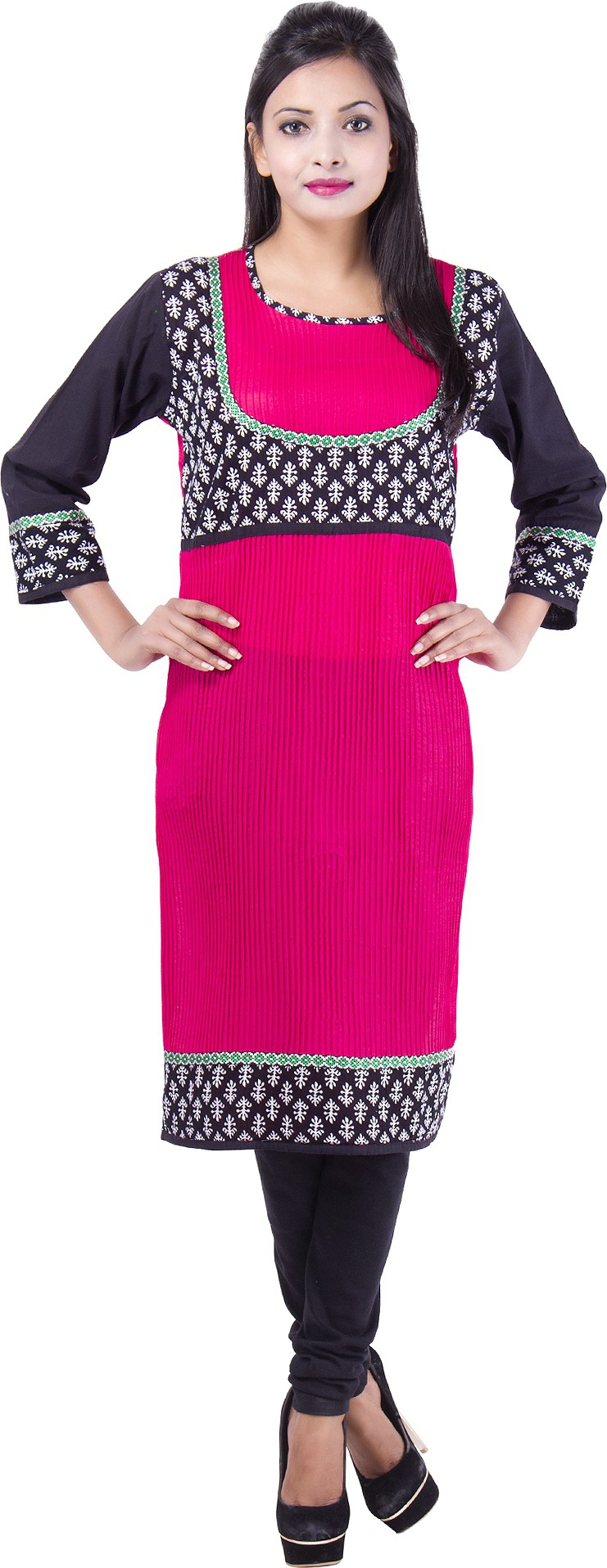 Msons Solid Womens Straight Kurta(Pink)