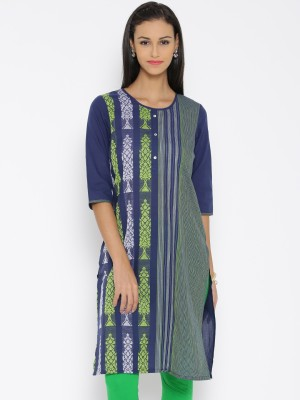 Aurelia Embroidered Women's Straight Kurta(Blue) at flipkart