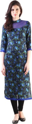 Libas Floral Print Women's Straight Kurta(Blue) at flipkart