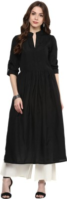 Gerua Solid Women's Anarkali Kurta(Black) at flipkart