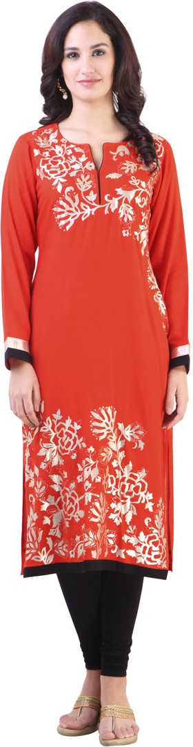 Libas Printed Womens Straight Kurta(Orange)