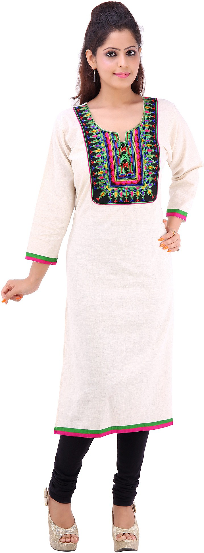 Vastra Design Printed Womens Straight Kurta(White)
