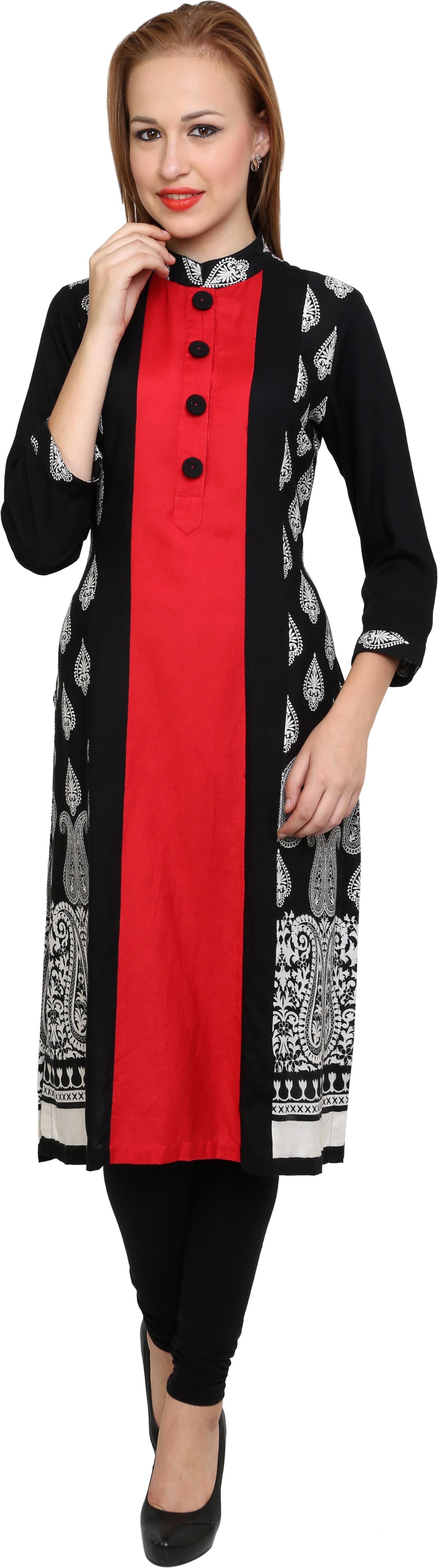 Kaccha Taanka Printed Womens Straight Kurta(Black, Red)