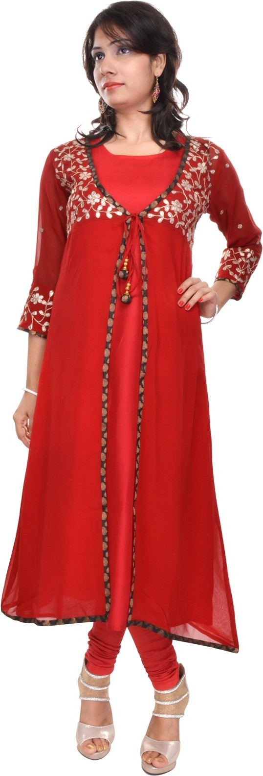 Naksh Jaipur Embellished Womens Anarkali Kurta(Red)