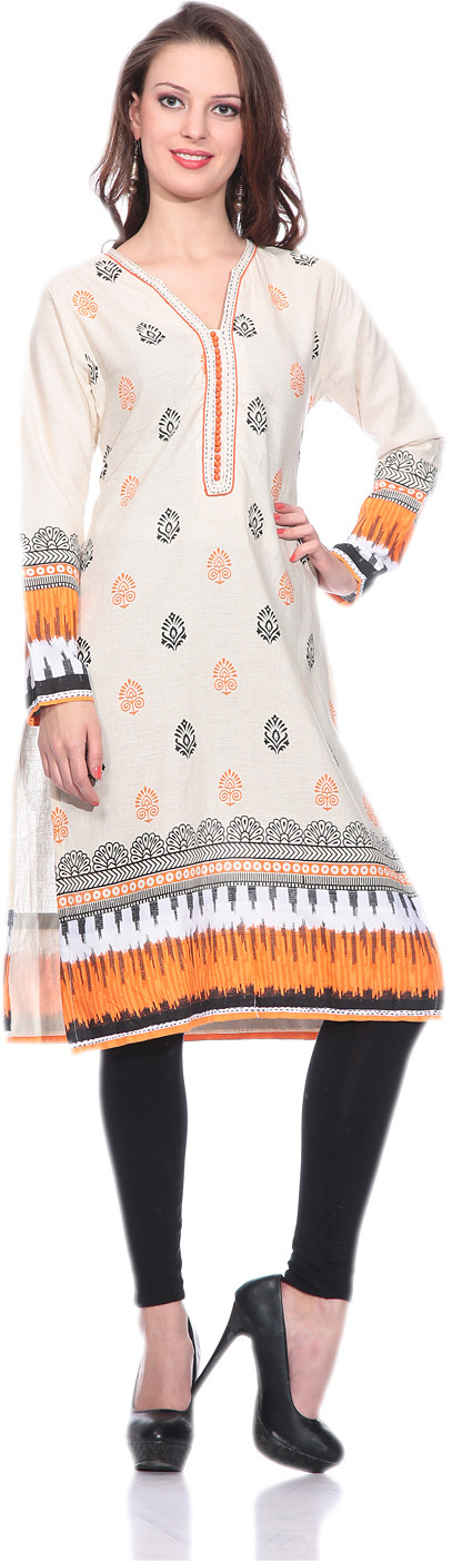Sringam Printed Womens Straight Kurta(Beige, Orange)