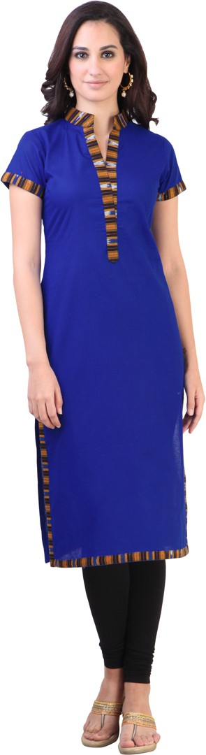 Libas Self Design Womens Straight Kurta(Dark Blue)