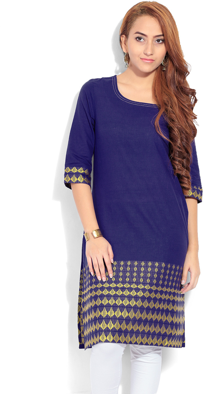 Aurelia Solid Womens Kurta(Blue)
