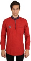 EdenElliot Solid Mens Straight Kurta(Red)