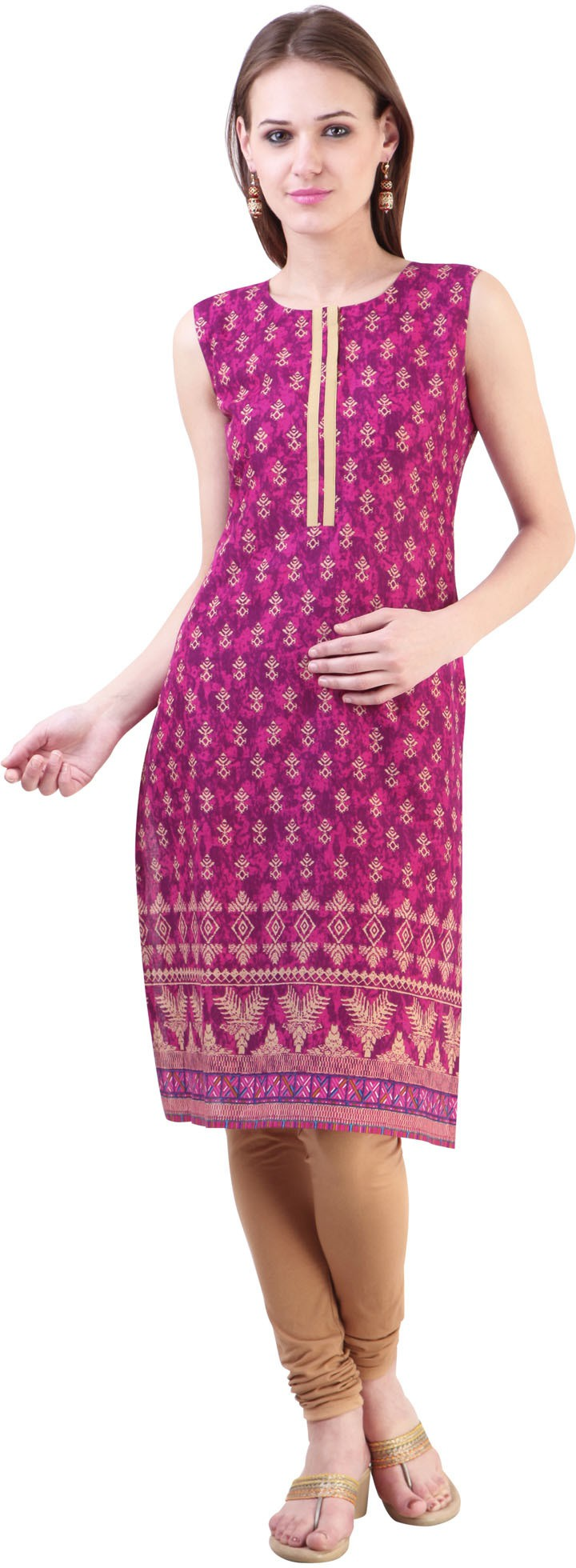 Libas Printed Womens Straight Kurta(Purple, Beige)