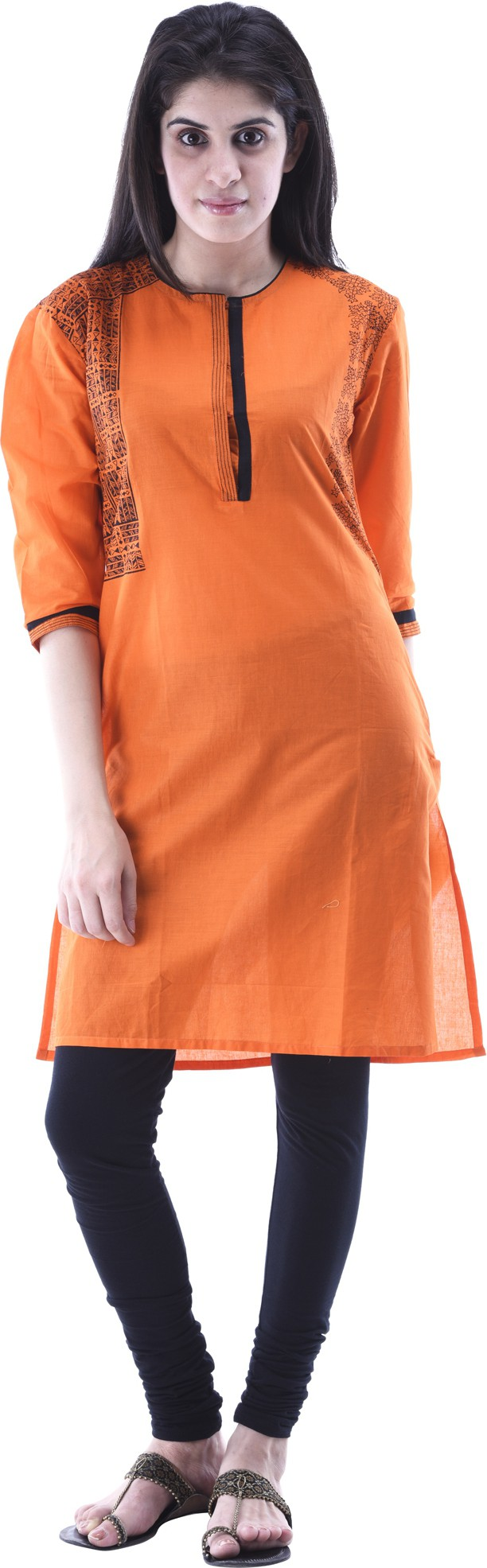 Aarr Printed Womens A-line Kurta(Orange)