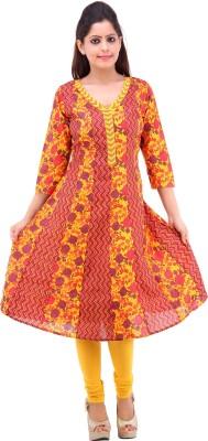 Pure Nautanki Printed Women's Anarkali Kurta(Yellow) at flipkart