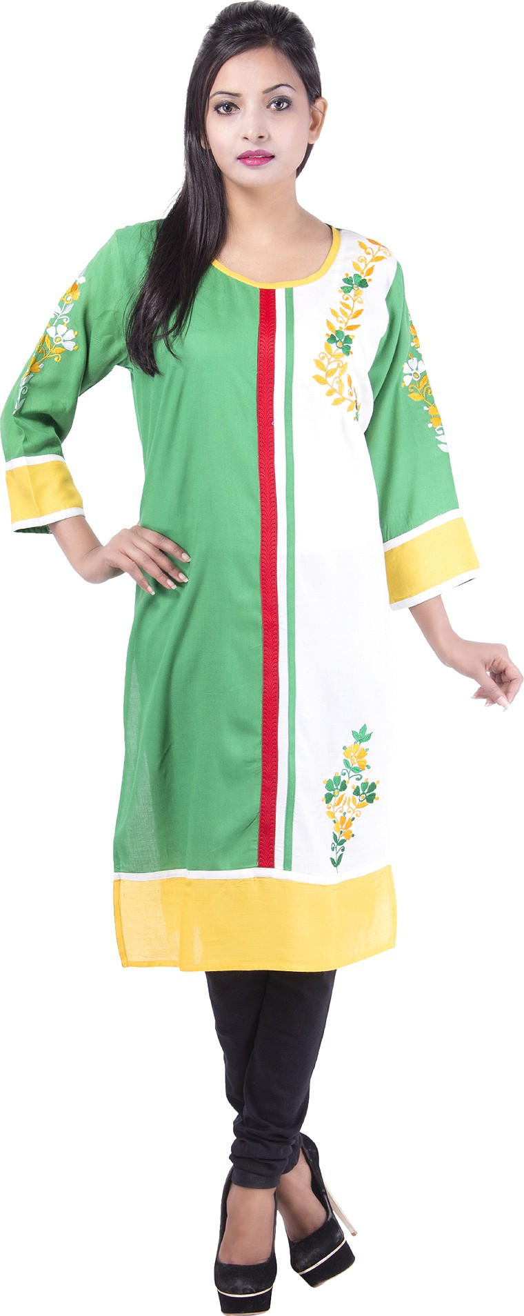 Msons Solid Womens Straight Kurta(Green, White)