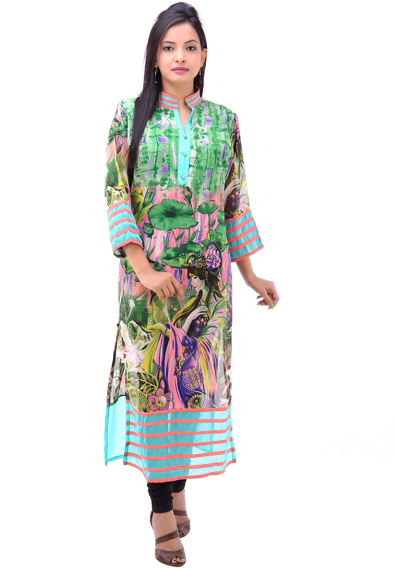 Pari Printed Womens Straight Kurta(Green)