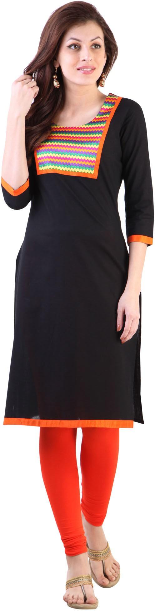 Libas Embroidered Womens Straight Kurta(Black)