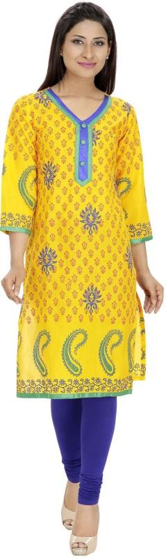Tanvi Printed Women's Straight Kurta(Yellow)