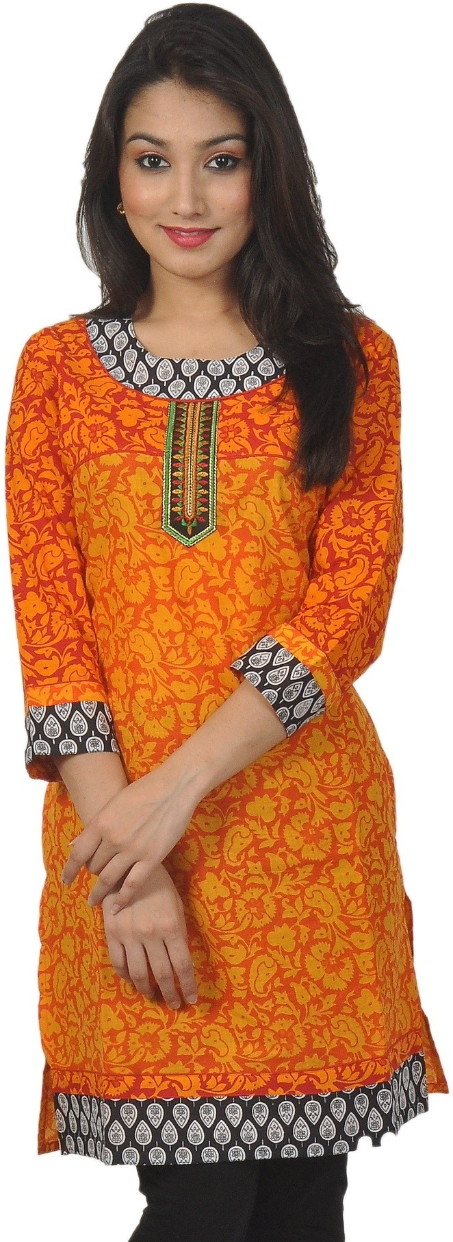 Sanchey Geometric Print Womens Straight Kurta(Orange)