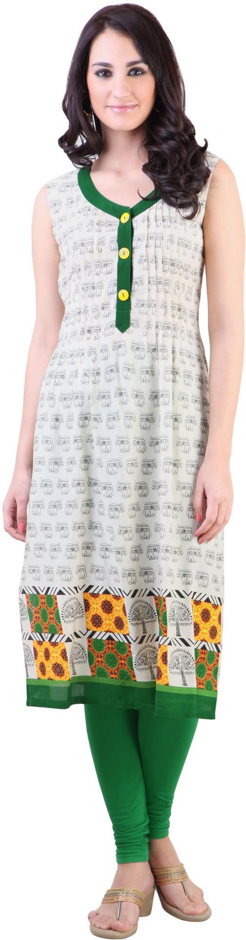Libas Printed Women's A-line Kurta(White)