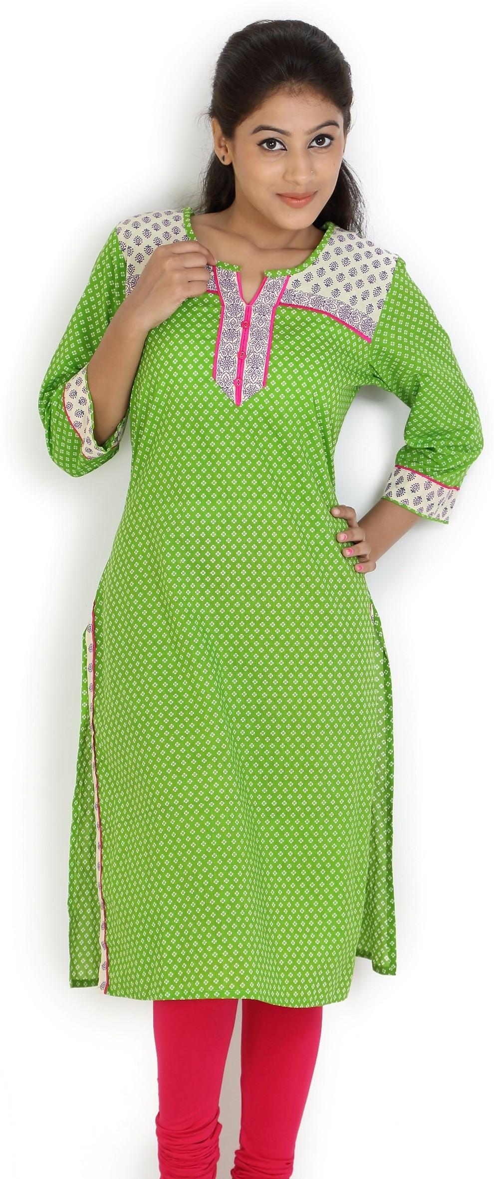Angel TF Creations Printed Womens A-line Kurta(Green)